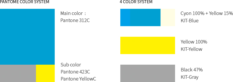 PANTOME COLOR SYSTEM : Main color: Pantone 312C, Sub color Pantone 423C Pantone YellowC, 4 COLOR SYSTEM : Cyon 100% + Yellow 15% (KIT-Blue), Yellow 100% (KIT-Yellow), Black 47% (KIT-Gray)